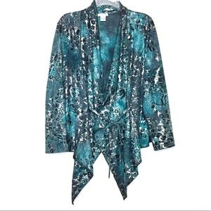 Alberto Makali Blue & Metallic Silver Wrap Top XL